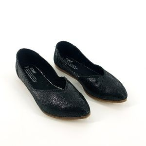 Toms Black Shimmer Leather Pointed Toe Flats